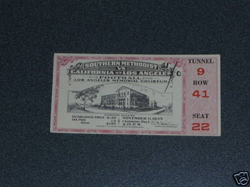 Used, 1935 SMU AT UCLA COLLEGE FOOTBALL TICKET for sale  Delivered anywhere in USA