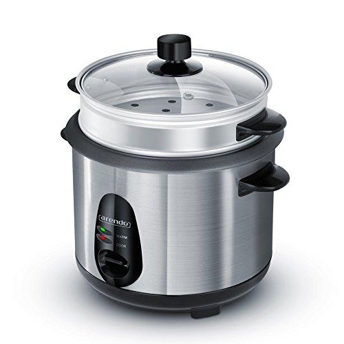 Arendo - Edelstahl Dampfgarer / Reiskocher | inkl. Dampfgarerfunktion | 1,0l Kapazität | Warmhaltefunktion | mit Innentopf und Deckel, Messbecher, Pfannenwender, Dampfgaraufsatz
