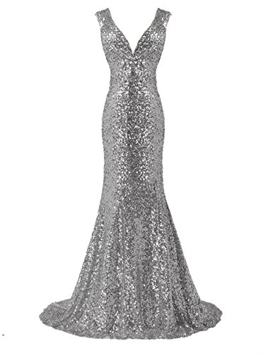 LanierWedding Gold Sequins Mermaid V Neck Bridesmaid Dresses Plus Size Prom  Dresses Silver Size 12 - FrenzyStyle