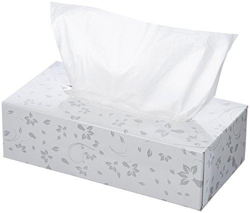 AmazonBasics Flat Box Premium Facial Tissues for Businesses, 2-Ply, White, 48 Boxes (Virgin Tissues White)