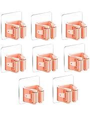 3-H Bezemhouder, gereedschapshouder, zelfklevend, mop en bezemhouder, stabiele wandhouder, opberglijst, snelspanners voor mop/bezem/tuingereedschap (roze)