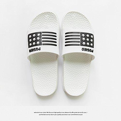 DogHaccd Zapatillas,Home verano parejas baño fresco pantuflas, baño interior suave antideslizante zapatillas macho inferior Blanco3