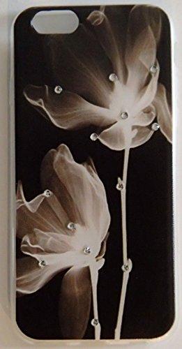 Coque iPhone 6 / 6S Fleur noir strass en silicone