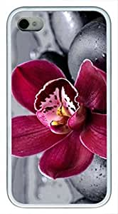 Red Elegant Orchid flowers pop Custom Rubber(TPU) white Case for iPhone 5 5s case by Cases & Mousepads