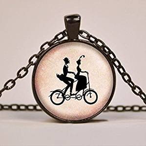 Bike Built for Two Silhouette Pendant Necklace Glass Jewelry Charm Bicycle Tandem Bike Pendant