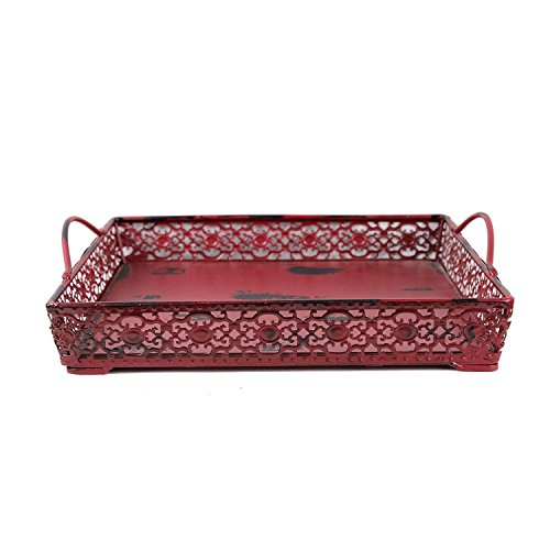 (Antique Finished Metal Wood Artisanal Square Tray Decorative Serving Tray with 2 Handles Wedding Gift Decor (Red))