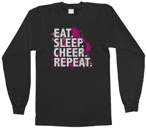 (Threadrock Big Girls' Eat Sleep Cheer Repeat Youth Long Sleeve T-Shirt M)