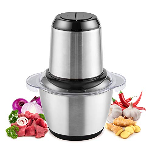 Electric Food Chopper & Mini Food Processor, 5-Cup Meat Grinders 1.2L Stainless Steel for Meat, Vegetables, Fruit, Salad…