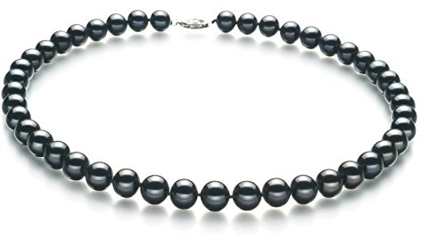 PearlsOnly - Black 8.5-9mm AA Quality Freshwater 925 Sterling Silver Cultured Pearl Necklace-16 in Chocker length by PearlsOnly