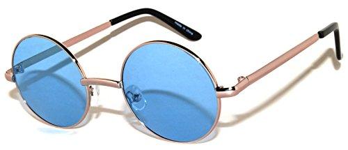 Retro Round Blue Lens Sunglasses Metal Frame