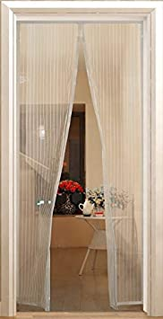 Mosquitera magn/ética con 20 imanes para balc/ón y puerta ventana blanco sin fald/ón fijaci/ón r/ápida en ventanas y balcones de madera y aluminio