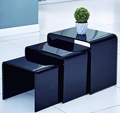 FengHuaGlassHome Folding Tables Nesting Coffee End Table, Living Room Corner Table (Cocktail Tempered Glass Desk,Black) 3-Piece l Shaped Desk Set ()