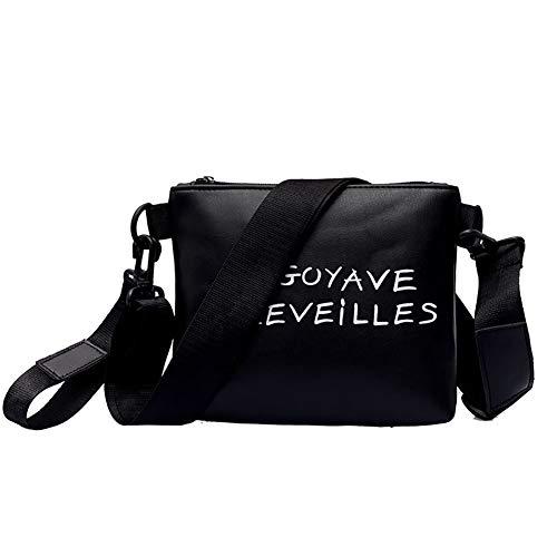 lightclub Faux Leather Bag Women Letter Print Casual Shoulder Messenger Pouch Handbag Gift Cross Body Bag ()