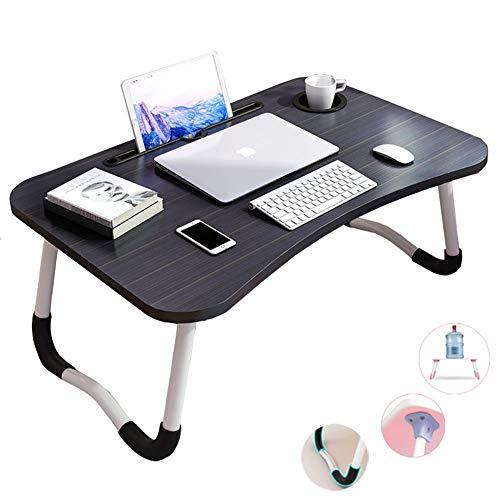 Mesa de cama portatil para ordenador portatil, soporte para lectura con patas plegables y ranura para taza para comer desayuno, leer, ver peliculas en la cama/sofa/sofa