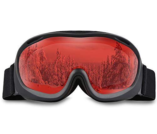- ALKAI Alta Ski Goggles, Snowboard Goggles Anti-Fog, 100% UV Protection, Double-Layer Spherical Lenses, Helmet Compatible Medium Fit Snow Goggles for Men & Women (VLT 67% Black Frame/Orange Lens)