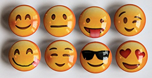 Set of 8 Emoji Movie Smiley Faces Dresser Drawer Knobs