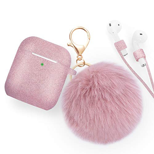Airpods Case - Bluewind Drop Proof Air Pods Protective Case Cover Silicone Skin, with Cute Fur Ball Airpods Keychain/Strap, Portable Apple Airpods Accessories (Glitter Rose Gold)