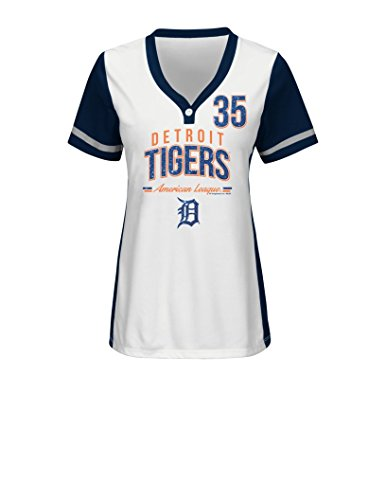 VF LSG MLB Detroit Tigers Women's Rugged Competitor Pull Over Color Block Name & Number Player Jersey, Large, White/Athletic Navy (Ladies Player Tigers)