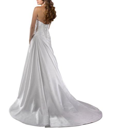 Brautkleider Satin Elfenbein Zug GEORGE Einfache BRIDE Hochzeitskleider Kapelle Schatz qXYg8Yv