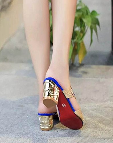 Tongs Strass Femme Pantoufles Sandales Style Nouveau blue GSHGA Été Coréen Oap40qw