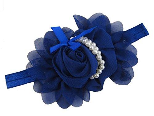 Demarkt Chic Princesse Bandeau/Headwear/ Hair Accessory Elastique Fleur Vara Bow Porté des Cristaaux Simulés Bleu Foncé