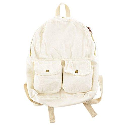 Dabixx donne tela zaini scuola ragazze Bookbag viaggio zaino a tracolla bags-blue, Brown, 31x12x36cm/12.2x4.72x14.17 White
