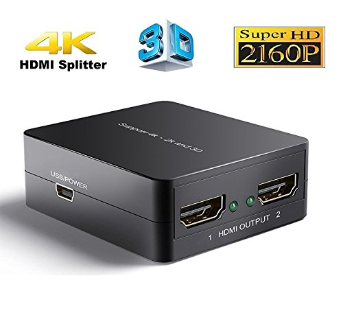 Discover Bargain 4K HDMI Splitter, Hdmi port Splitter 1 in 2 out, 2 port Hdmi signal Amplifier 1x2, ...