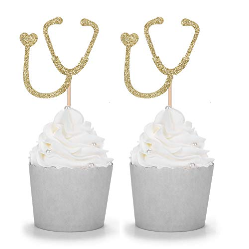 Gold Glitter Stethoscope Cupcake Toppers Doctor Medical School Graduate Nursing Theme Party Decorations - 24 Counts -