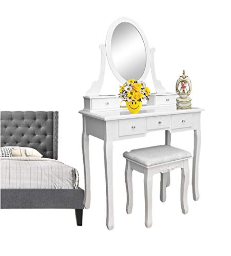 (Prettyshop4246 Dressing Table with 360° Rotation Single Mirror 5 Drawers Dressing Table Queen Anne Legs Stool Crystal Clear Drawer Pull White 31.5 Inch L)