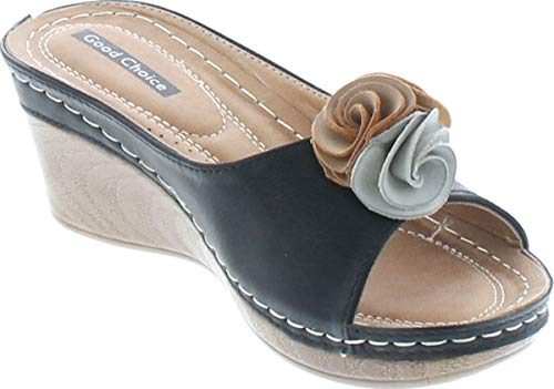 G.C. Shoes Women's Sydney Rosette Slide Wedge Sandals