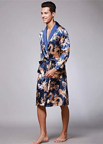 Elegante Raso Notte Lunga Kimono Blu Uomo Drago Vestaglia Da Pigiama Manica Vestaglie Stampa Wanyangg Accappatoi Maschile Di Reale Lusso 6gqwX5