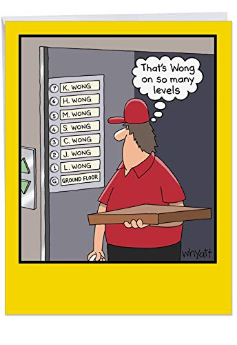 - Funny Birthday Card 'Many Wong's' With Envelope Extra Large Size 8.5 x 11 Inch - Big Greetings Card for a Big Happy Birthday Gift - Hilarious Adult Humor Joke Featuring Pizza Delivery Guy J8276BDG