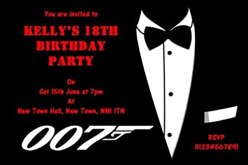 10 x Personalised James Bond Theme Party Invitations Amazoncouk