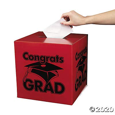 Congrats Grad Red Card Box for Graduation - Party Supplies: Office Products