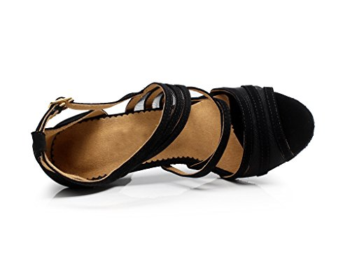 Ballroom Suede Black Strappy Fashion Shoes Latin TDA Women's QJ7036 Tango Dance AXwHnIR4