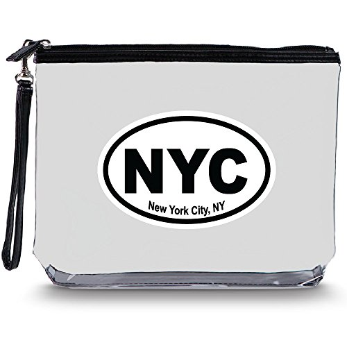 Clear Travel Bag with Heavy Duty Transparent Plastic Pouch, Zipper & Carry Strap - Water Resistant Great for Day Trips, Beach, Pool, Sporting Events. Stands for Easy Loading - New York Imprint MBNYC ()
