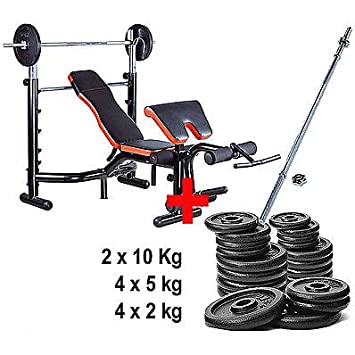 Kit de banco de musculación Pro Deluxe + barra + pesas: Amazon.es: Deportes y aire libre