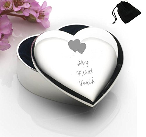 Silver Plated Heart Shaped Trinket Box With My First Tooth Design and Black Gift Pouch (Heart Plated Silver Box)