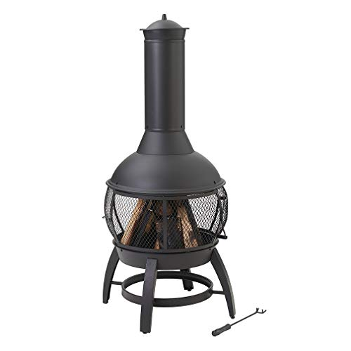 Gas Chimenea Indoor Drayton Steel Outdoor Tall Freestanding Outdoor Wood Burning Fireplace with Chimney Durable Powder-Coated Steel Construction Resists Rust in Outdoor Weather Conditions 21.25dx53.15 ()