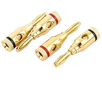 Conector eDealMax Musical Cable Audio del altavoz de alambre abierta Tornillo tipo Banana DE 4 PCS