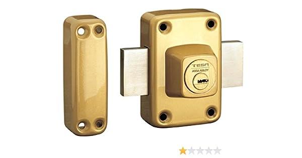 Tesa Assa Abloy, 2111TE4E, Cerrojo de seguridad con llave exterior e interior, Latonado: Amazon.es: Bricolaje y herramientas