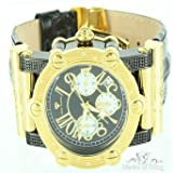 High Class Easy Read Mens 45MM Aqua Master Gold & Black Iced Bling Leather Watch