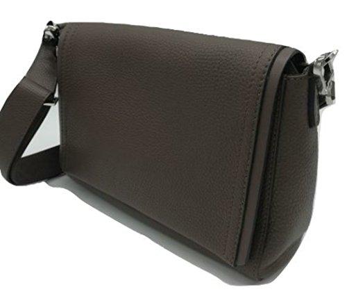 Gianni CHIARINI tracolla in pelle martellata color muddy, patta con profilo. Made in italy Tasca interna porta oggetti