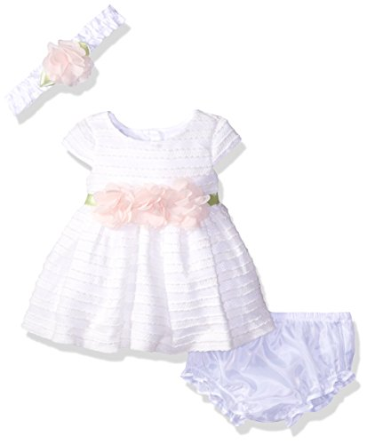 Sweet Heart Rose Little Girls Textured Knit Occasion Dress with Headband, Ivory, 0-3 Months