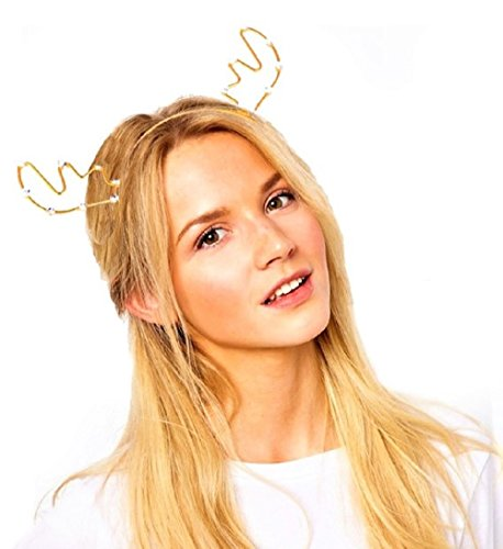 Costumes Adults For Fawn (JeVenis Luxury Deer Antler Headband Fawn Horns Costumes Festival Party Hats (One Size, New -)
