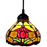 """Tiffany Style Hanging Pendant Lamp 8"""" Wide Stained Glass Shade Red Fixture Floral Tulips Antique Vintage 1 Light Decor Restaurant Game Room Living Room Kitchen Gift AM001HL08B Amora Lighting"""