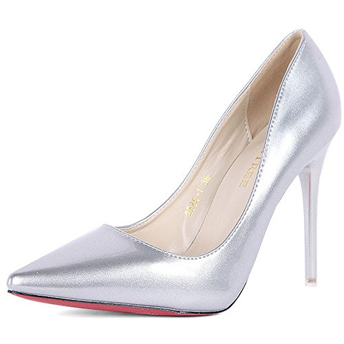LongFengMa Women's Elegant Slip On Office Ladies Dress Thin High Heel Pumps Silver 0biuDC6qi