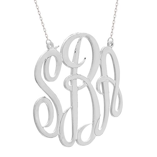 USA Made 2 Inch Monogram Sterling Silver Custom Pendant (Made in USA) -