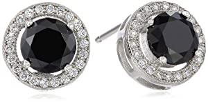 925 Sterling Silver Black and Clear AAA Cubic Zirconia Stud Earrings