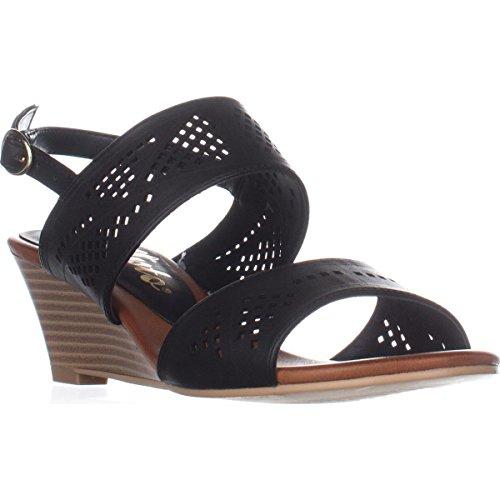Callisto Sprinter Wedge Buckle Sandals - Black gh7PqUESO